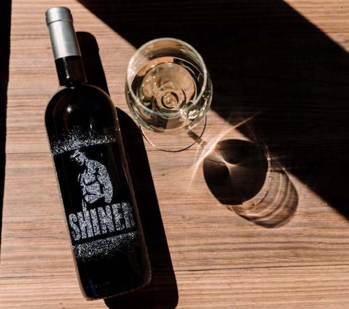 the paserene shiner range bottles displayed at the top wine tasting near franschhoek in cape town